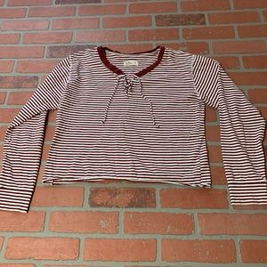 Hollister Striped Lace Up Neck Crop Top Red White